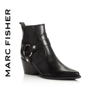 BRAND NEW Marc Fisher Halie leather booties black